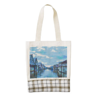 Houses and canal zazzle HEART tote bag