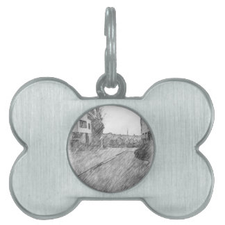 Houses and road pet tag