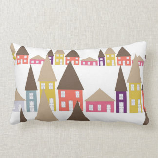 Houses and Roof Tops Lumbar Pillow