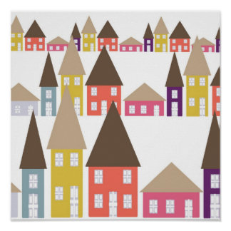 Houses and Roof Tops Poster