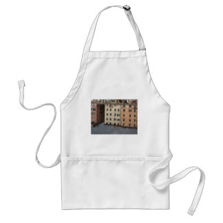 Houses are reflected in the tranquil water adult apron