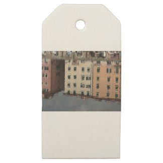 Houses are reflected in the tranquil water wooden gift tags