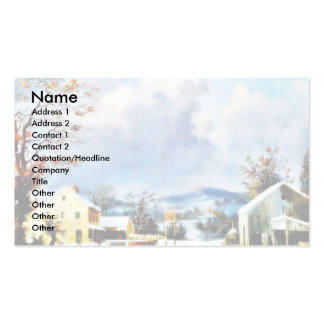 houses around the mountain with dark sky business card template