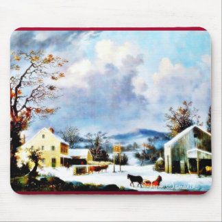 houses around the mountain with dark sky mouse pad