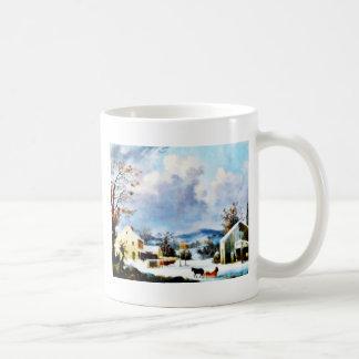 houses around the mountain with dark sky classic white coffee mug