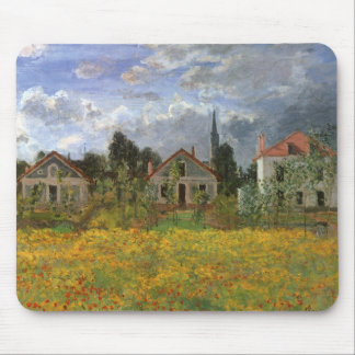 Houses at Argenteuil by Claude Monet, Vintage Art Mouse Pad