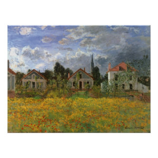 Houses at Argenteuil by Claude Monet, Vintage Art Poster
