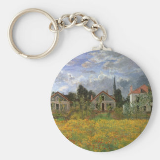 Houses at Argenteuil, Monet, Vintage Impressionism Keychains