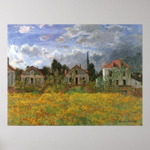 Houses at Argenteuil, Monet, Vintage Impressionism Poster
