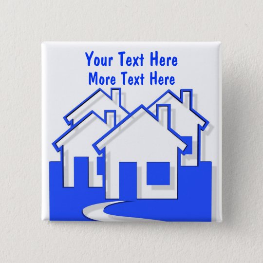 Houses Button Pin