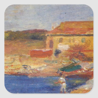 Houses by the Sea by Pierre-Auguste Renoir Square Sticker
