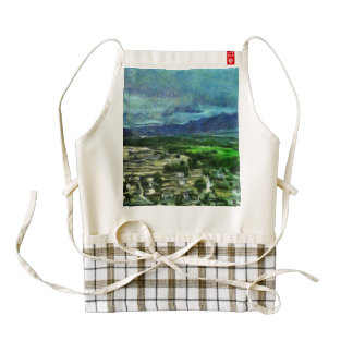 Houses in a green valley zazzle HEART apron