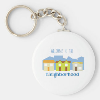 Houses in a Row Basic Round Button Keychain