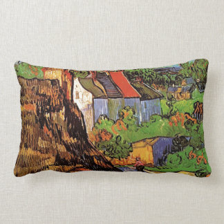 Houses in Auvers, Fine art by Vincent van Gogh. Lumbar Pillow