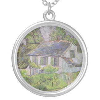 Houses in Auvers - Van Gogh (1890) Round Pendant Necklace