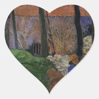 Houses in le Pouldu by Paul Gauguin Heart Sticker