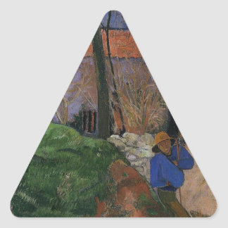 Houses in le Pouldu by Paul Gauguin Triangle Sticker