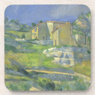 Houses in Provence by Paul Cezanne, Vintage Art Drink Coaster