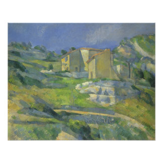 Houses in Provence by Paul Cezanne, Vintage Art Poster