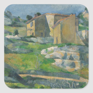 Houses in the Provence: The Riaux Valley Square Sticker