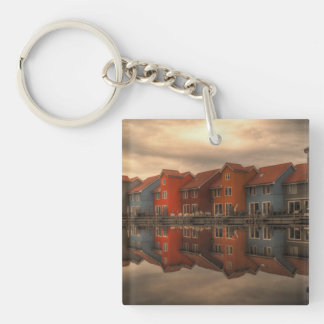 houses Single-Sided square acrylic keychain