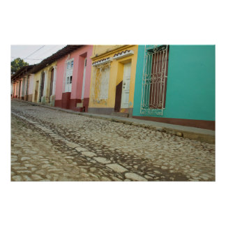 Houses Line The Street, Cuba Poster