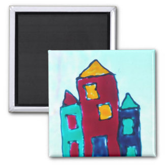Houses 2 Inch Square Magnet
