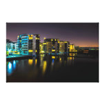 Houses near the river at night canvas print
