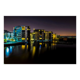 Houses Near The River in London at Night Poster