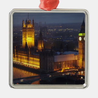 Houses of Parliament, Big Ben, Westminster Square Metal Christmas Ornament