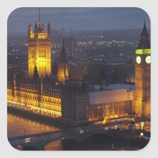 Houses of Parliament, Big Ben, Westminster Square Stickers