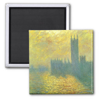 Houses of Parliament by Claude Monet Impressionism 2 Inch Square Magnet