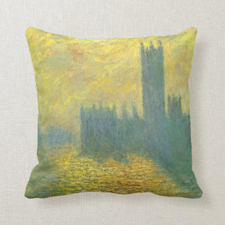 Houses of Parliament by Claude Monet Impressionism Throw Pillows