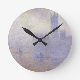 Houses of Parliament, Fog Effect by Claude Monet Round Clock
