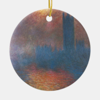 Houses of Parliament, London by Claude Monet Double-Sided Ceramic Round Christmas Ornament