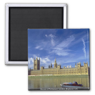 Houses of Parliament, London, England, U.K. 2 Inch Square Magnet