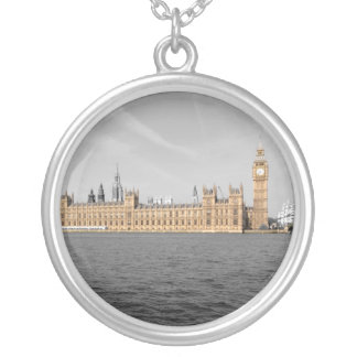 Houses of Parliament London Round Silver Silver Plated Necklace