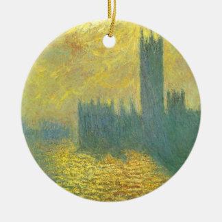 Houses of Parliament, Stormy Sky by Claude Monet Ceramic Ornament