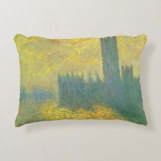 Houses of Parliament, Stormy Sky by Claude Monet Decorative Pillow