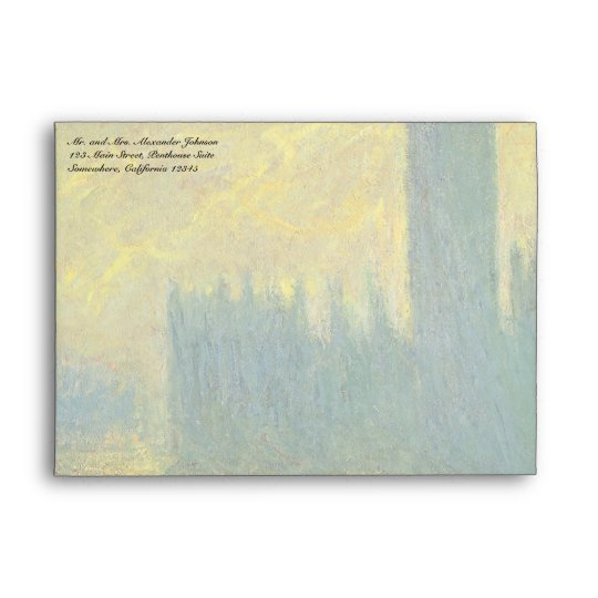 Houses of Parliament, Stormy Sky by Claude Monet Envelope