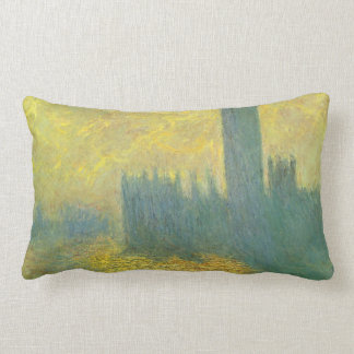 Houses of Parliament, Stormy Sky by Claude Monet Lumbar Pillow