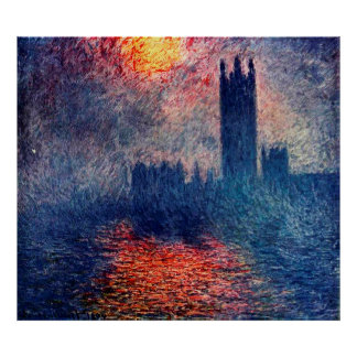 Houses of Parliament, Sun Breaking Through the Fog Poster
