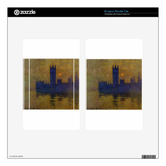 Houses of Parliament, Sunset 02 by Claude Monet Decal For Kindle Fire