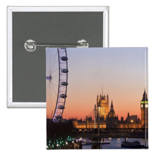 Houses of Parliament & the London Eye 2 Inch Square Button