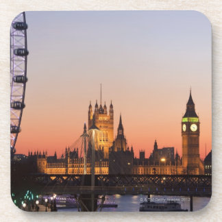 Houses of Parliament & the London Eye Beverage Coaster