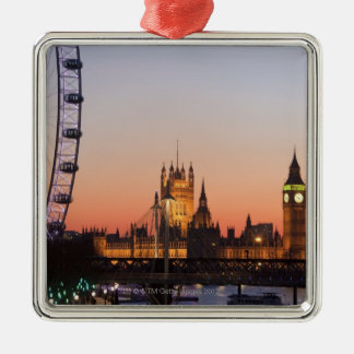 Houses of Parliament & the London Eye Metal Ornament