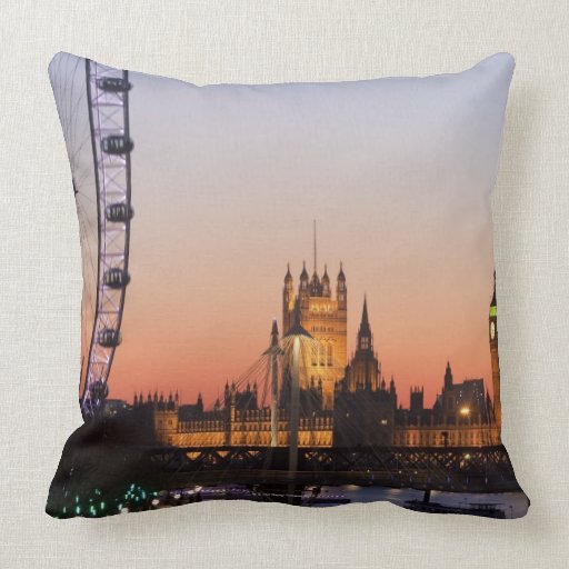 Houses of Parliament & the London Eye Pillow