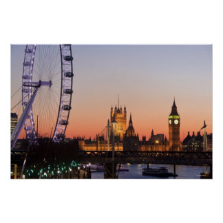 Houses of Parliament & the London Eye Poster