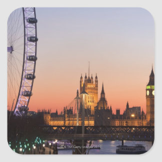 Houses of Parliament & the London Eye Square Sticker