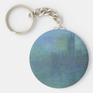 Houses of Parlilament, Fog Effect by Claude Monet Basic Round Button Keychain